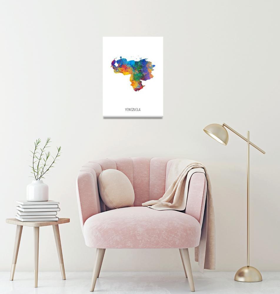 """Venezuela Watercolor Map""  (2019) by ModernArtPrints"