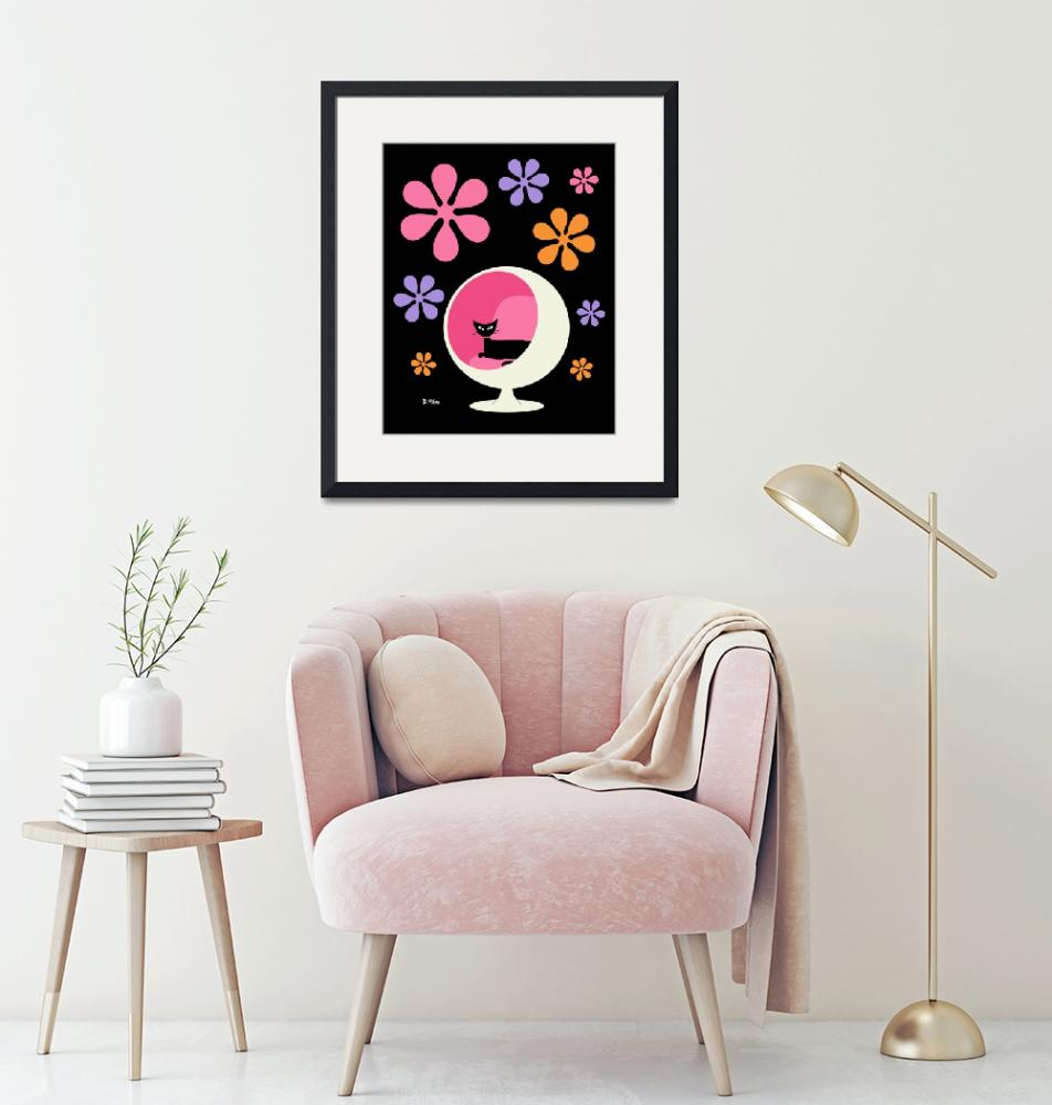 """""""Ball Chair with Groovy flowers pink purple orange""""  by DMibus"""