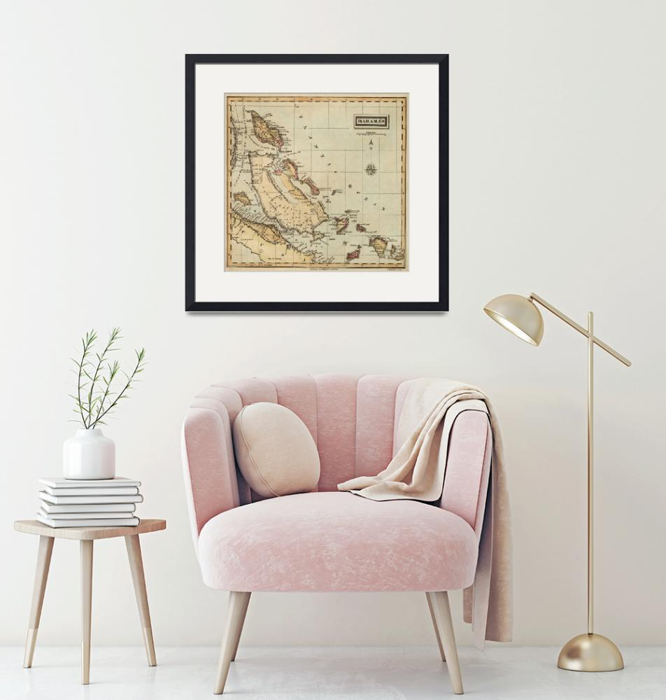 """Vintage Map of The Bahamas (1823)""  by Alleycatshirts"