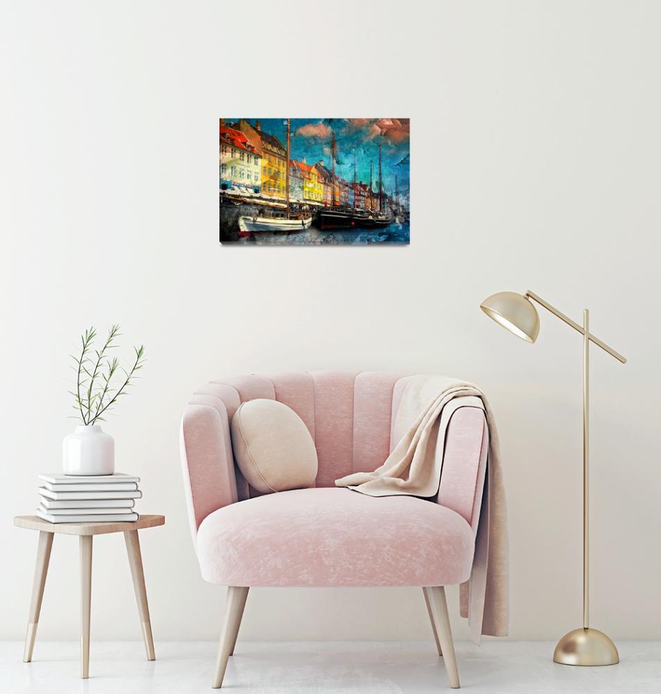 """Nyhavn Harbor-Copenhagen""  (2017) by annayanev"