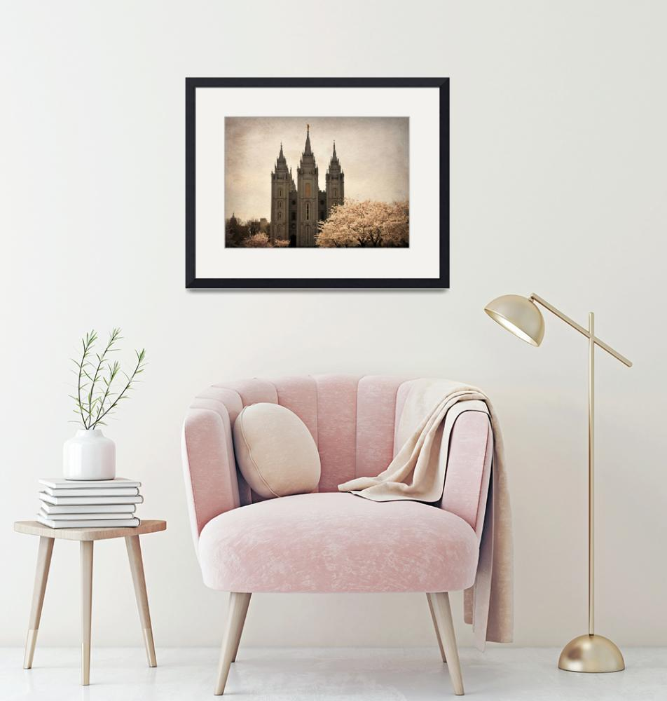 """Salt lake temple with blossoming trees""  by houstonryan"
