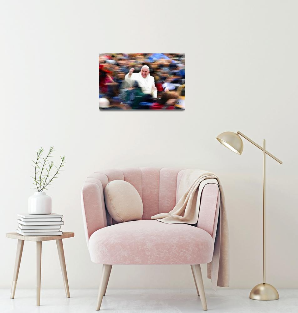 """""""Pope Francis In Crowd of Faithful Acrylic 2""""  (2016) by RubinoFineArt"""