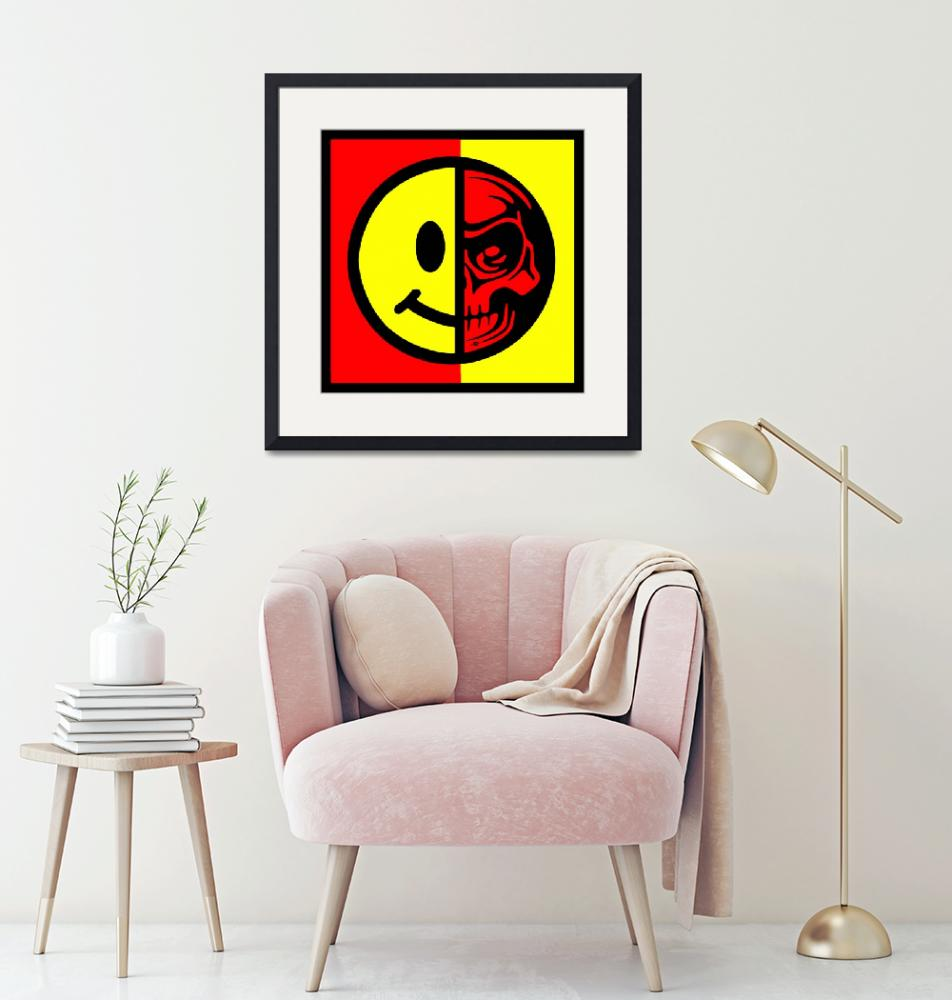 """""""Smiley Face Skull Yellow Red Border""""  (2015) by RubinoFineArt"""