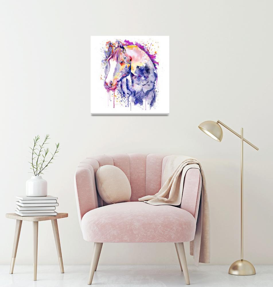 """Horse Head Watercolor Portrait"" (2019) by MarianVoicu"