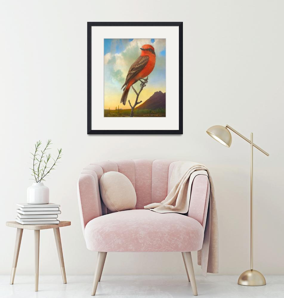 """sunset vermillion flycatcher""  (2020) by rchristophervest"