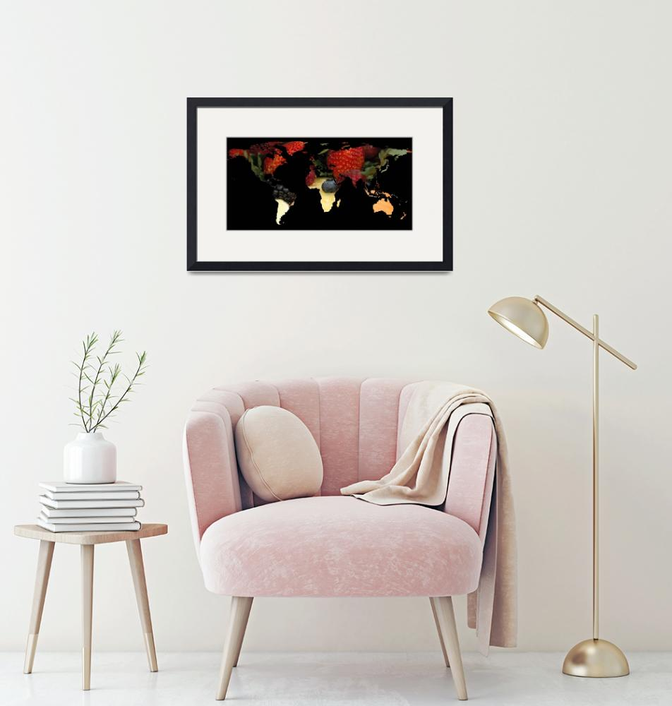 """""""World Map Silhouette - Mixed Fruit""""  by Alleycatshirts"""