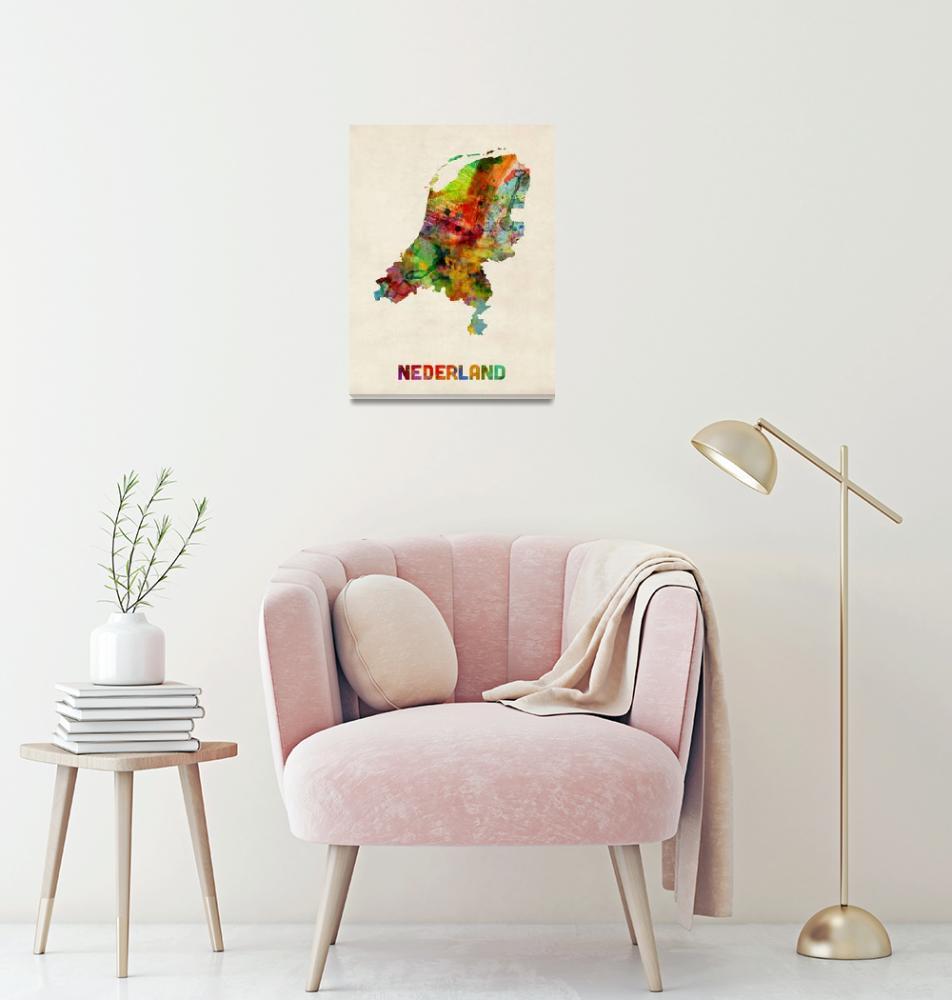 """""""Netherlands Watercolor Map""""  (2013) by ModernArtPrints"""