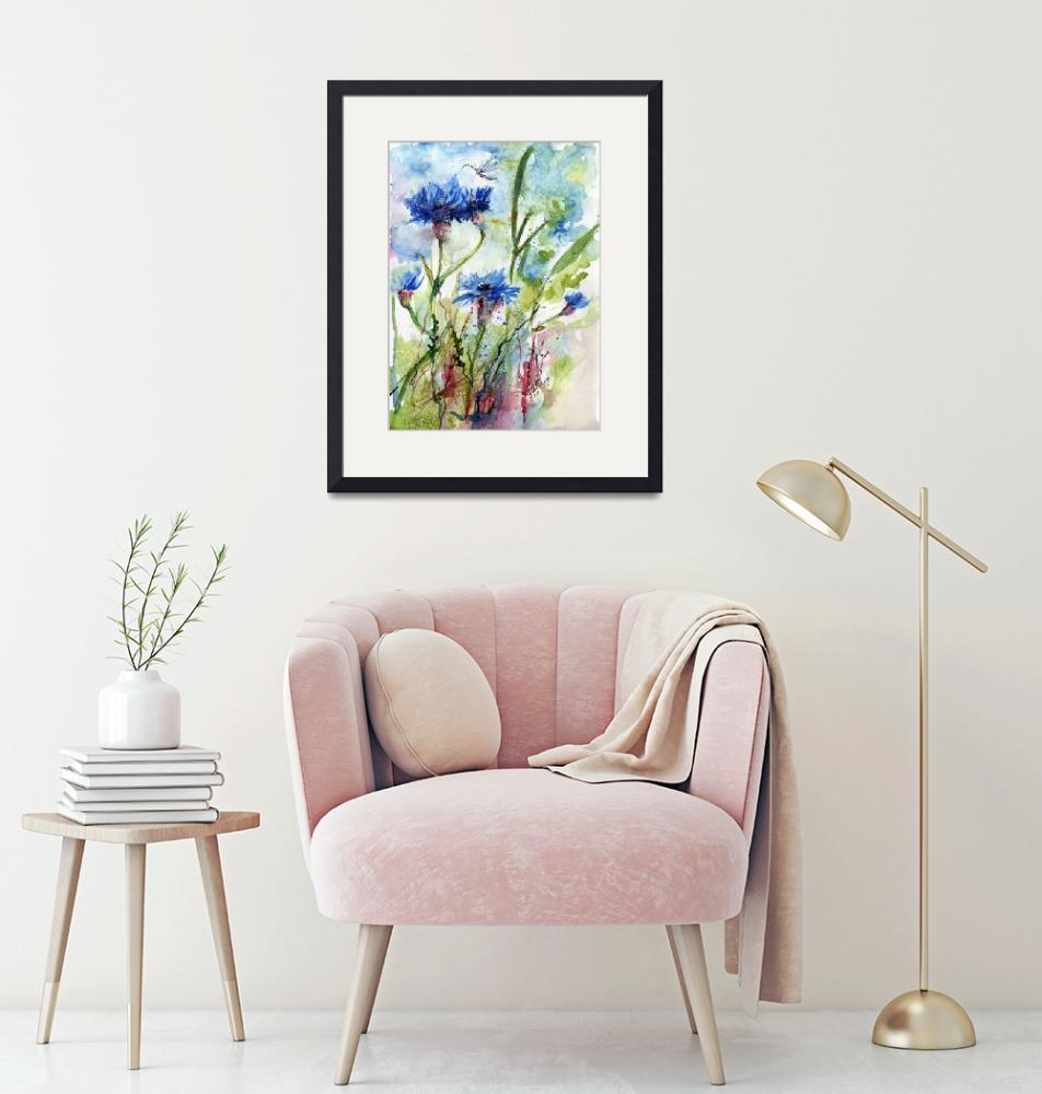 """Cornflowers Wildflower Watercolor by Ginette""  (2011) by GinetteCallaway"