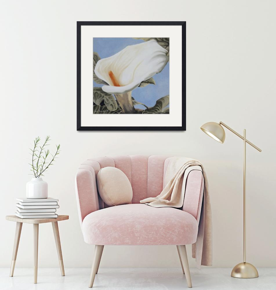 """""""Calla Lily over blue""""  (1998) by whatipaint4u"""