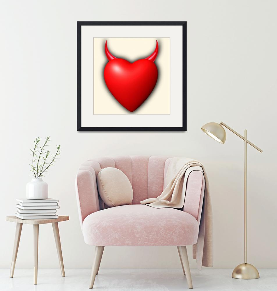 """Heart Series Love Red Devil Horns""  (2018) by RubinoFineArt"