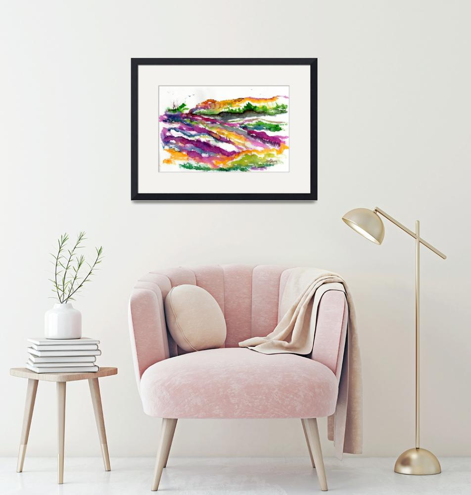 """""""Abstract Landscape Lavender Fields Watercolor""""  (2016) by GinetteCallaway"""