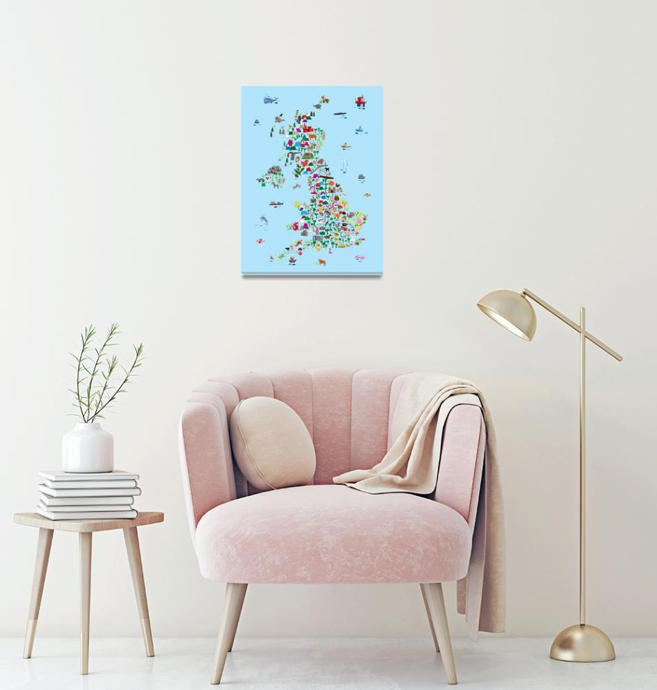 """""""Animal Map of Great Britain & NI for children and""""  by ModernArtPrints"""