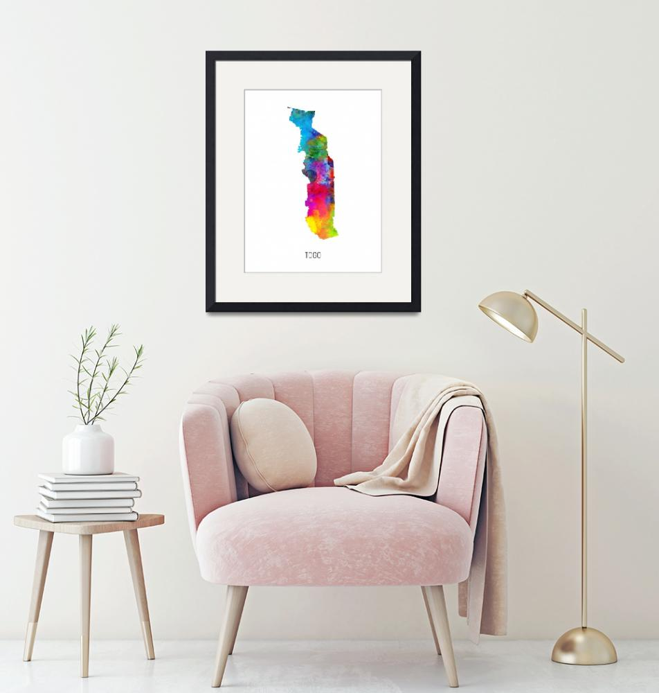 """Togo Watercolor Map""  (2019) by ModernArtPrints"