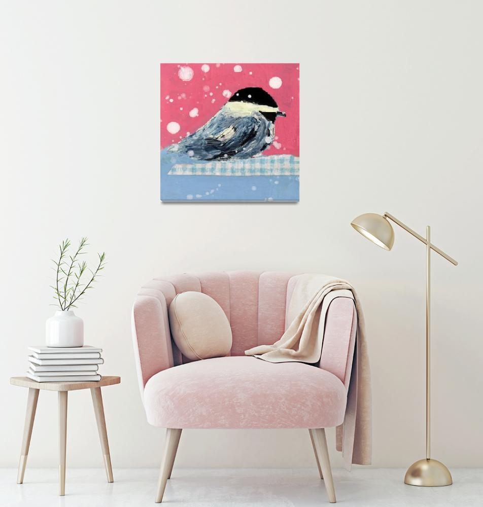 """""""Cute pink and blue chickadee in snowstorm""""  (2018) by katiejeannewood"""