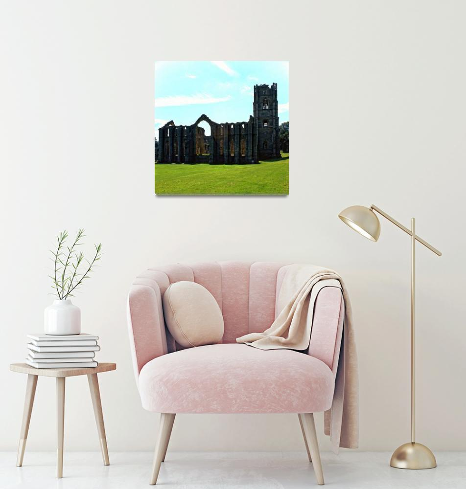 """Fountains Abbey in Summer 13""  (1990) by PriscillaTurner"