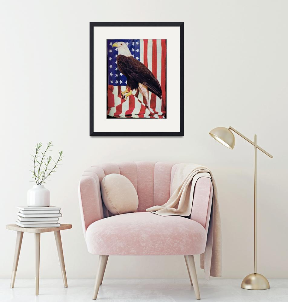 """""""American Bald Eagle and US Flag""""  (2010) by birthdaygifts"""