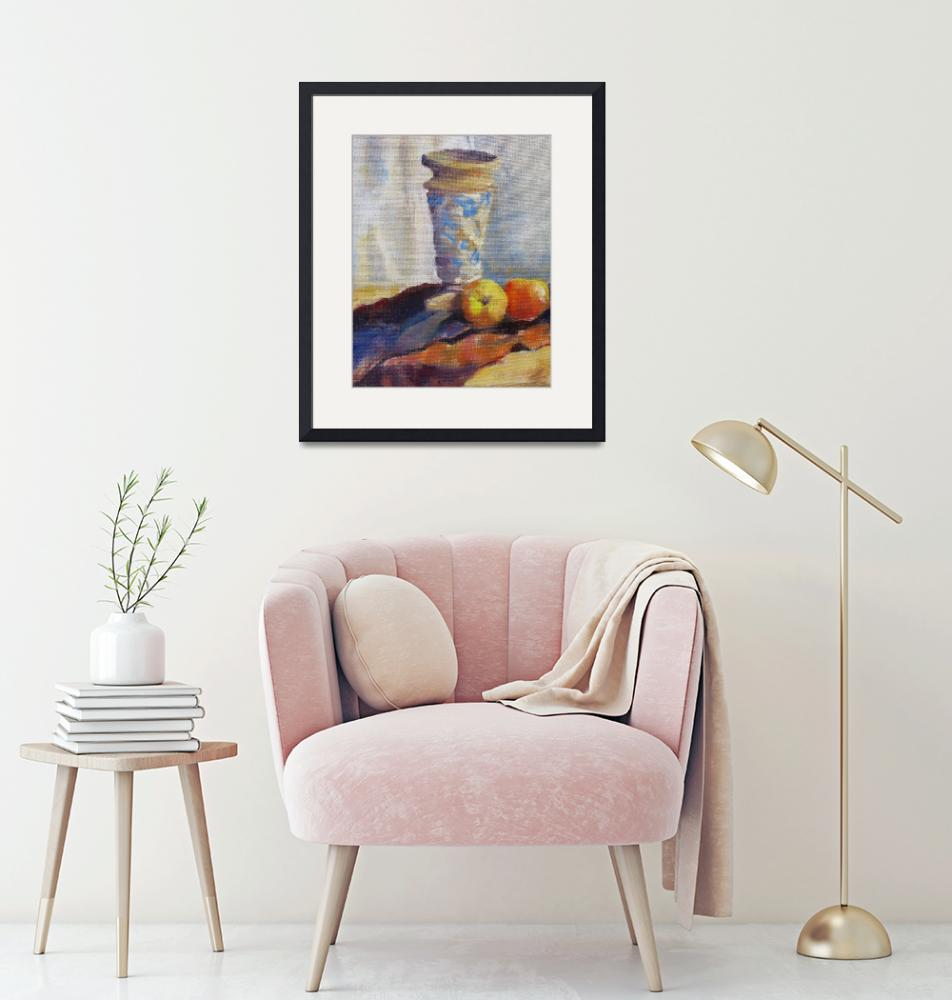 """""""Vase and Peaches""""  (2008) by elilundpaintings"""