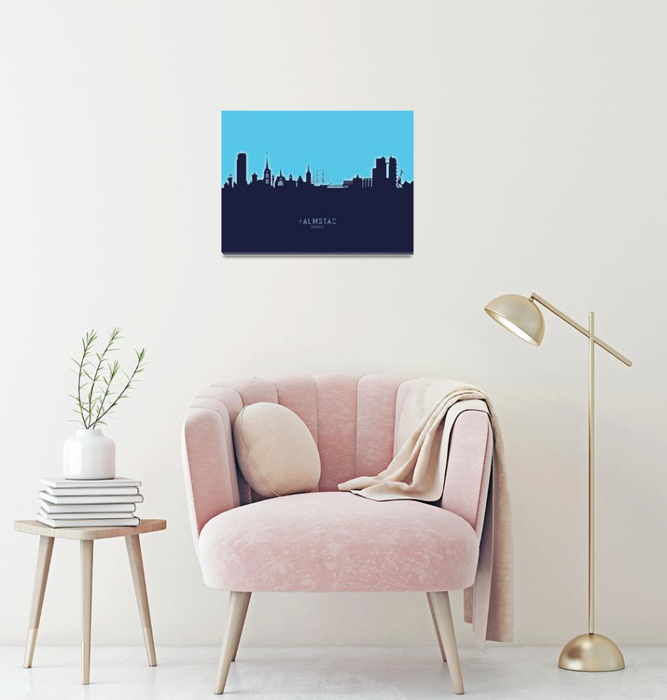 """Halmstad Sweden Skyline""  (2020) by ModernArtPrints"