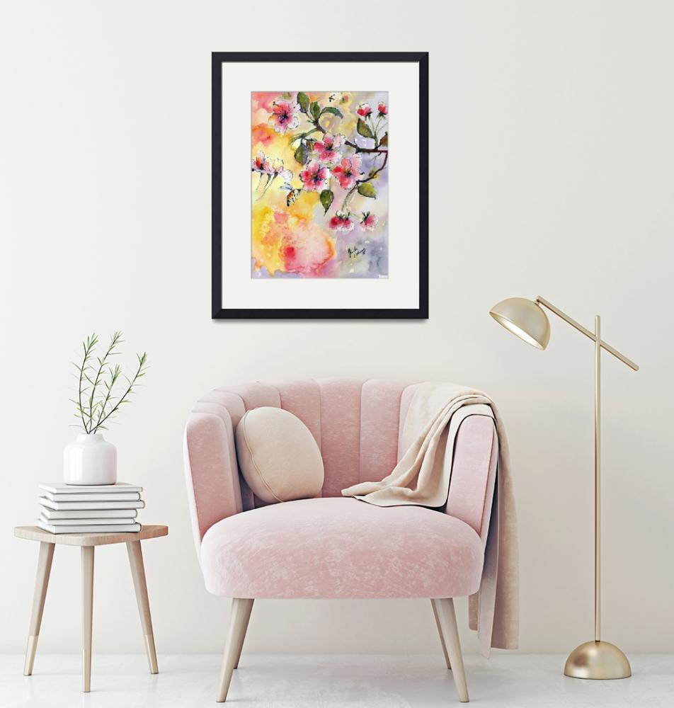 """""""Apple Blossoms and Bee Watercolor""""  (2019) by GinetteCallaway"""