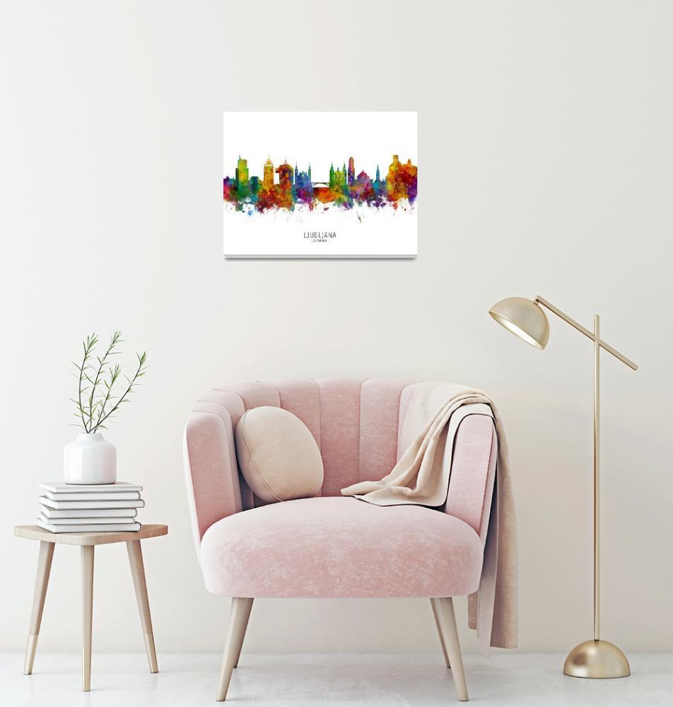 """Ljubljana Slovenia Skyline""  (2019) by ModernArtPrints"