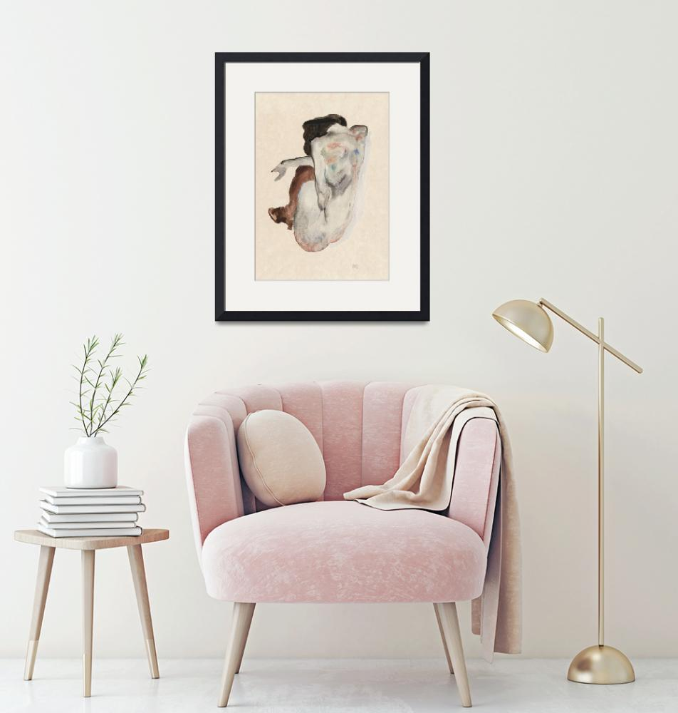 """""""Naked lady. Crouching Nude in Shoes and Black Stoc""""  by FineArtClassics"""