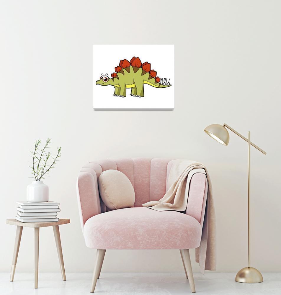 """""""Cute illustration of a Stegosaurus dinosaur""""  by stocktrekimages"""