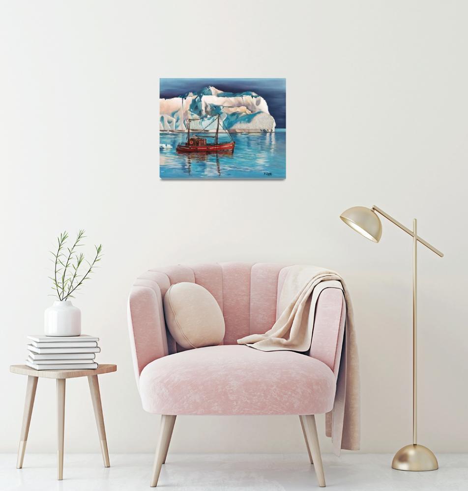 """Iceberg and tug boat""  (2018) by yuezeng"