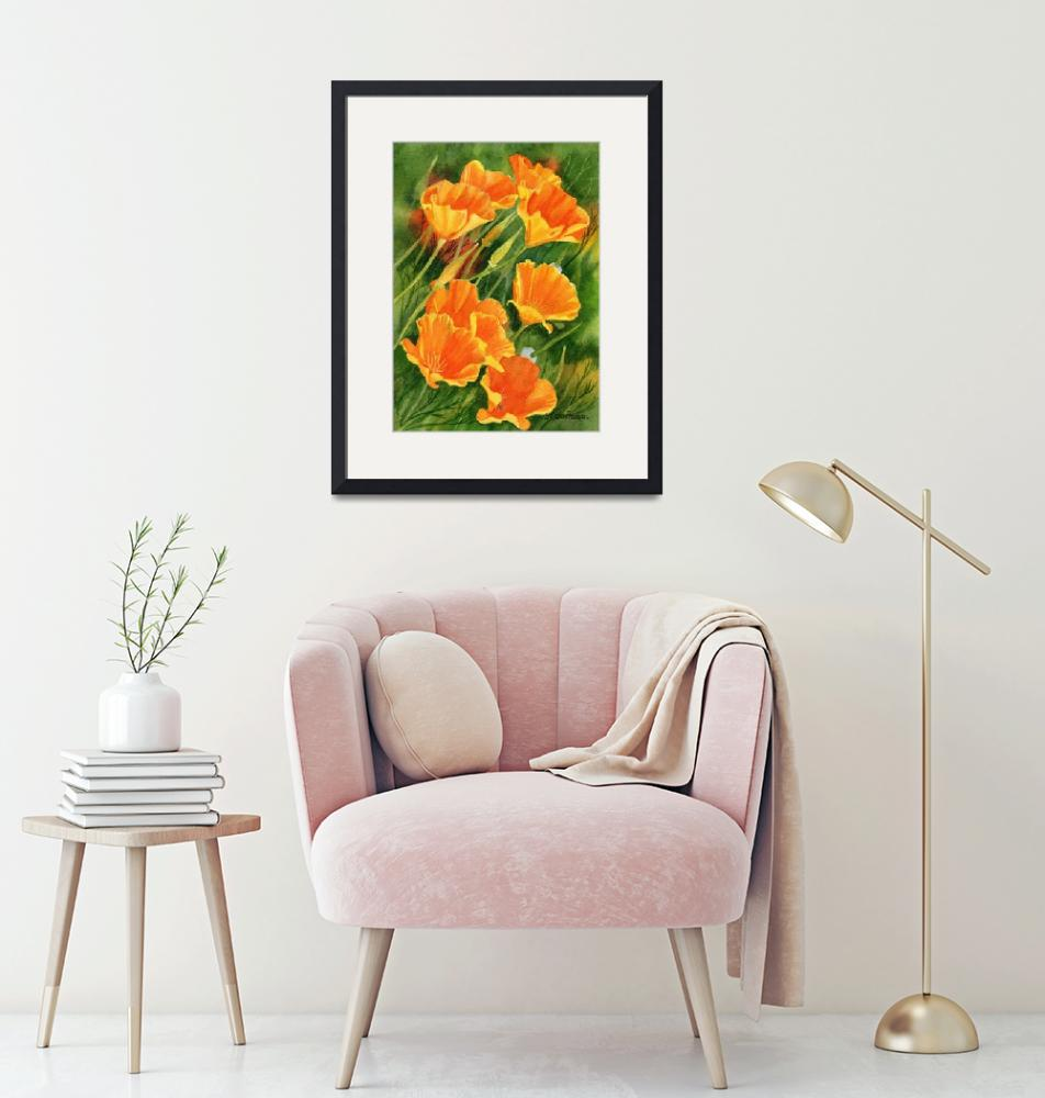 """""""California Poppies, Faces Up""""  (2011) by Pacific-NW-Watercolors"""