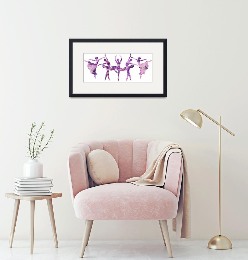 """Purple Ballerinas Dance Watercolor Silhouettes""  (2018) by IrinaSztukowski"