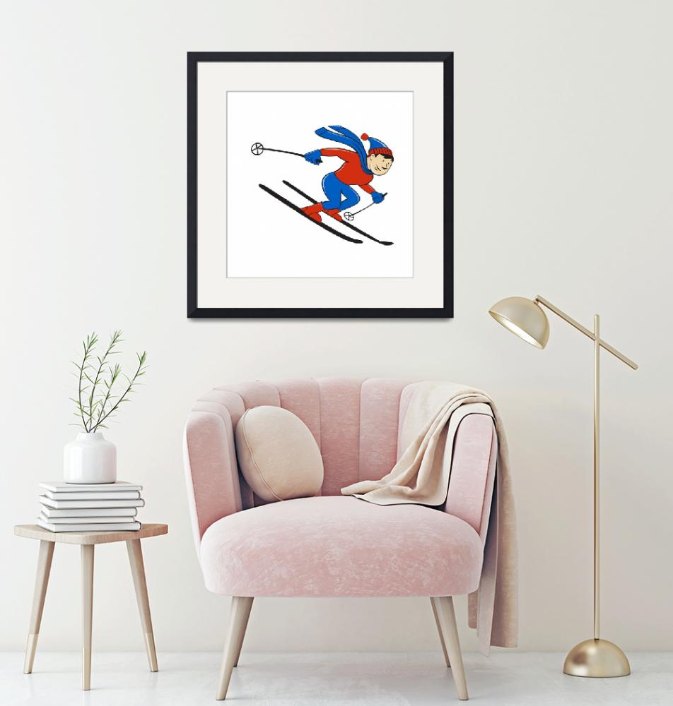 """Skier Skiing Side Isolated Cartoon""  (2015) by patrimonio"