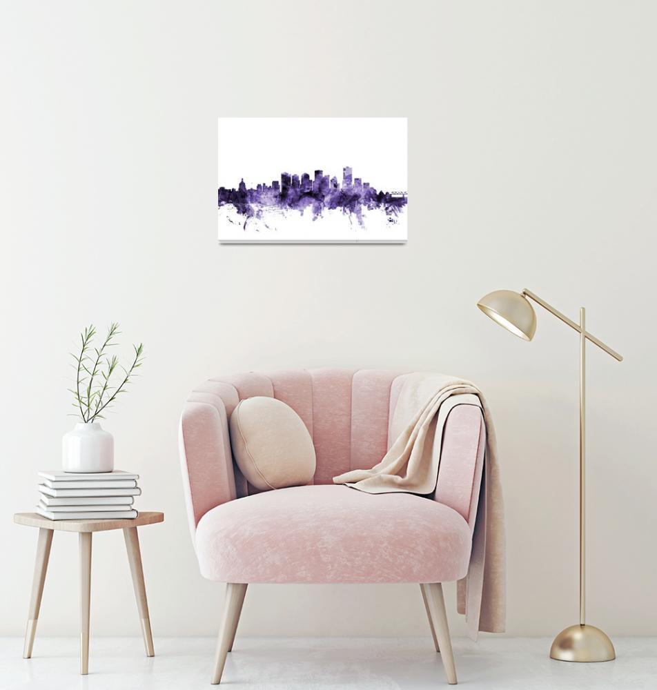 """Edmonton Canada Skyline""  (2018) by ModernArtPrints"