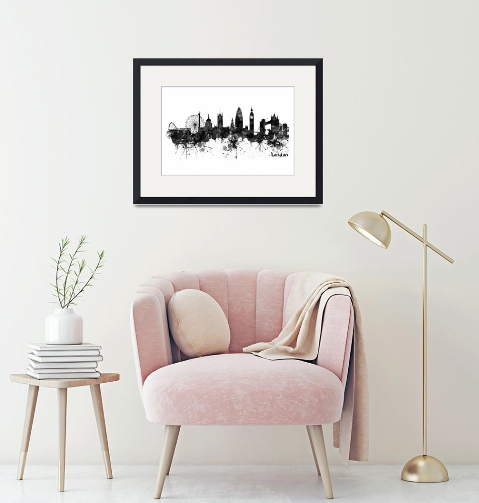 """""""London Black And White Watercolor Skyline Silhouet"""" (2019) by MarianVoicu"""