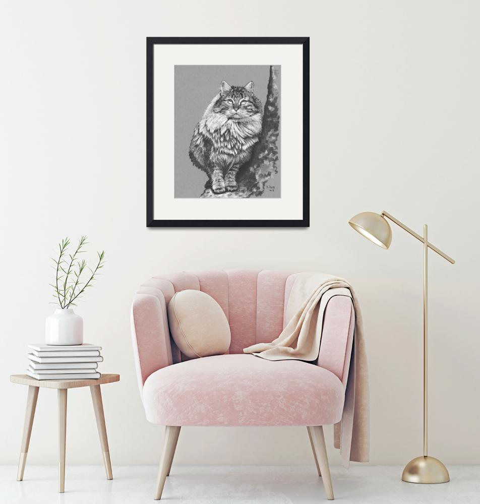"""""""Original ink drawing cat 2""""  (2019) by yuezeng"""