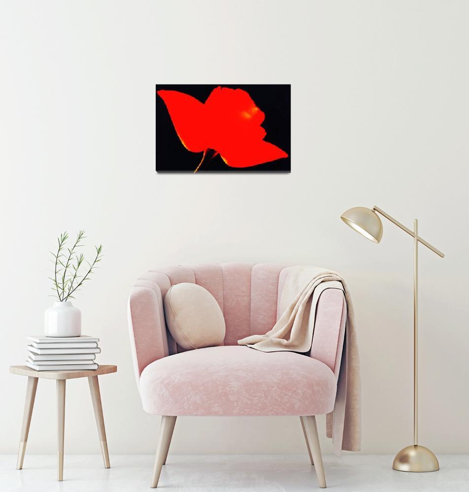 """RED FLOWER FLAT on BLACK""  (2013) by nawfalnur"