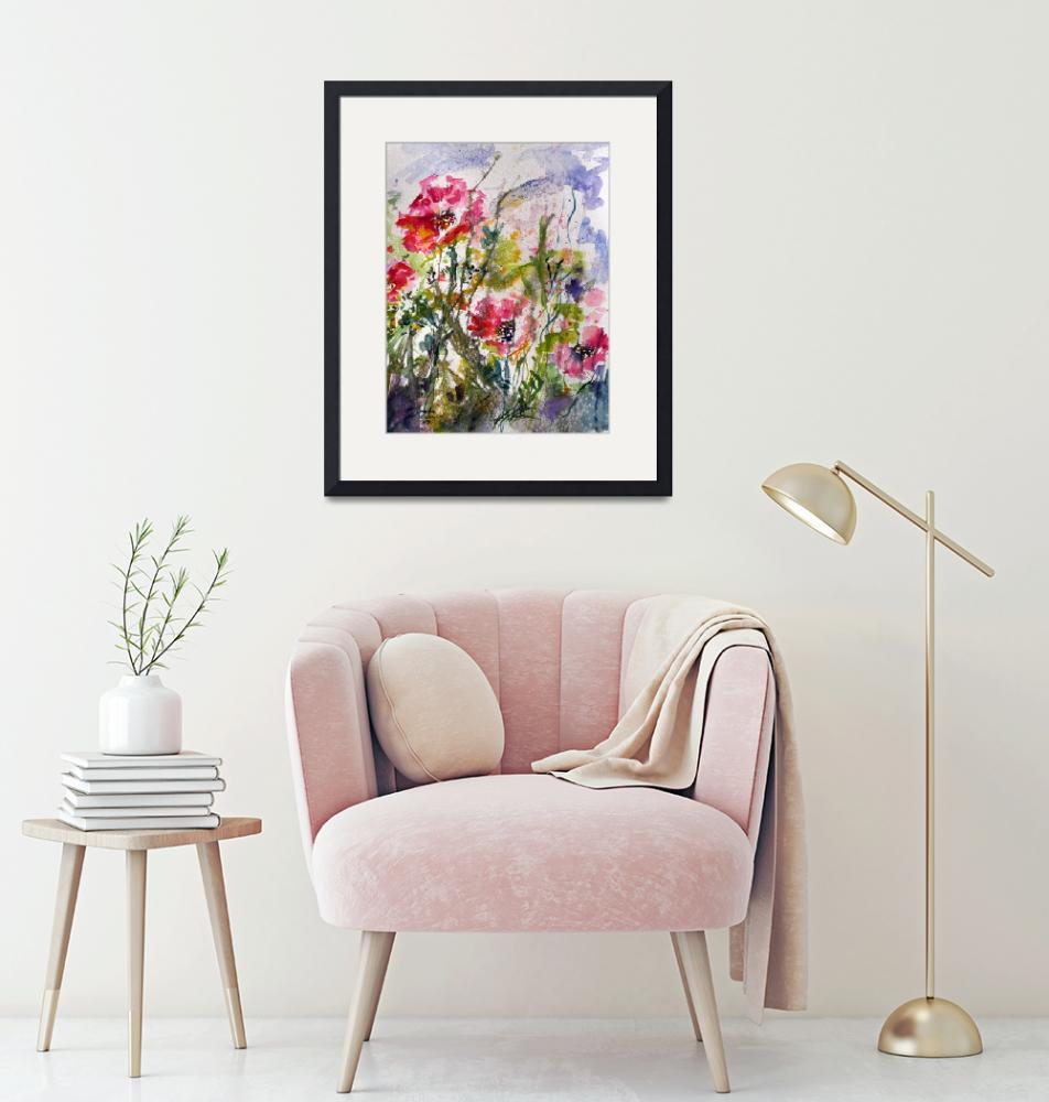 """Pink Oriental Poppies Watercolor by Ginette""  (2009) by GinetteCallaway"