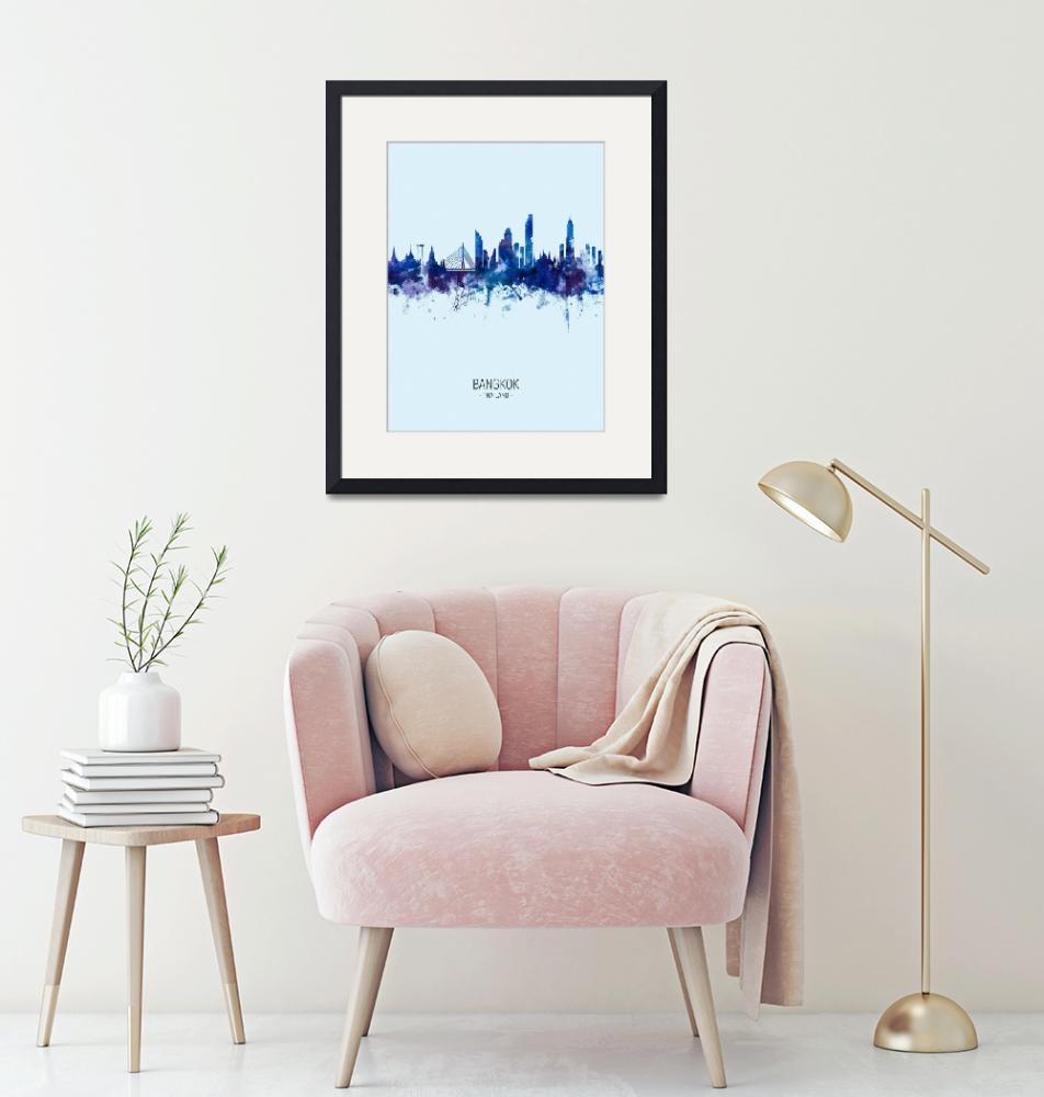 """Bangkok Thailand Skyline""  (2019) by ModernArtPrints"