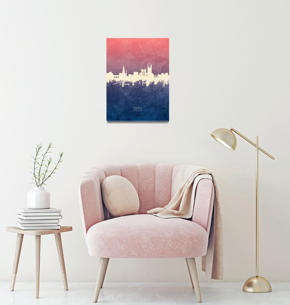 """Bath England Skyline Cityscape""  (2019) by ModernArtPrints"