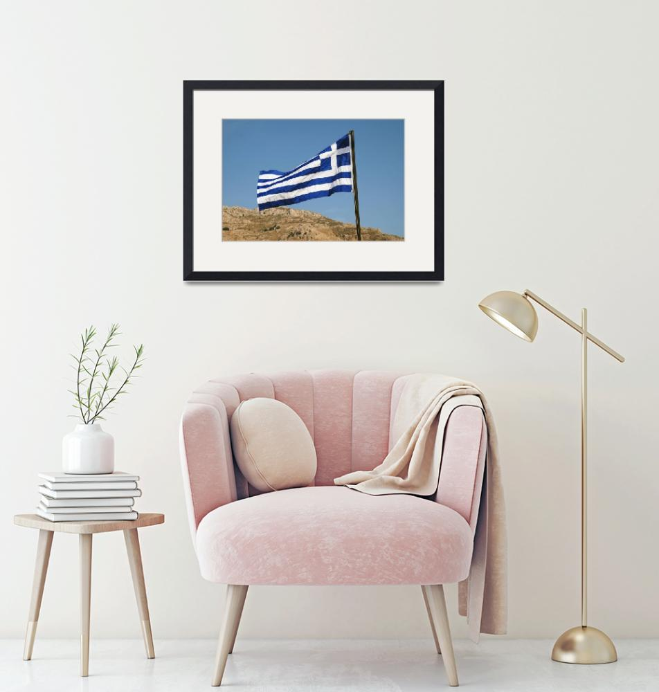 """Greek flag on Tilos island""  (2019) by DavidFowler"
