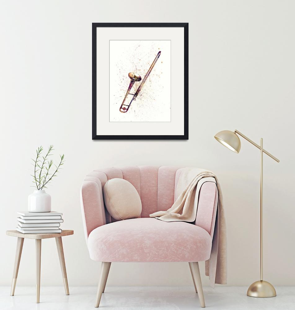 """Trombone Abstract Watercolor""  (2019) by ModernArtPrints"
