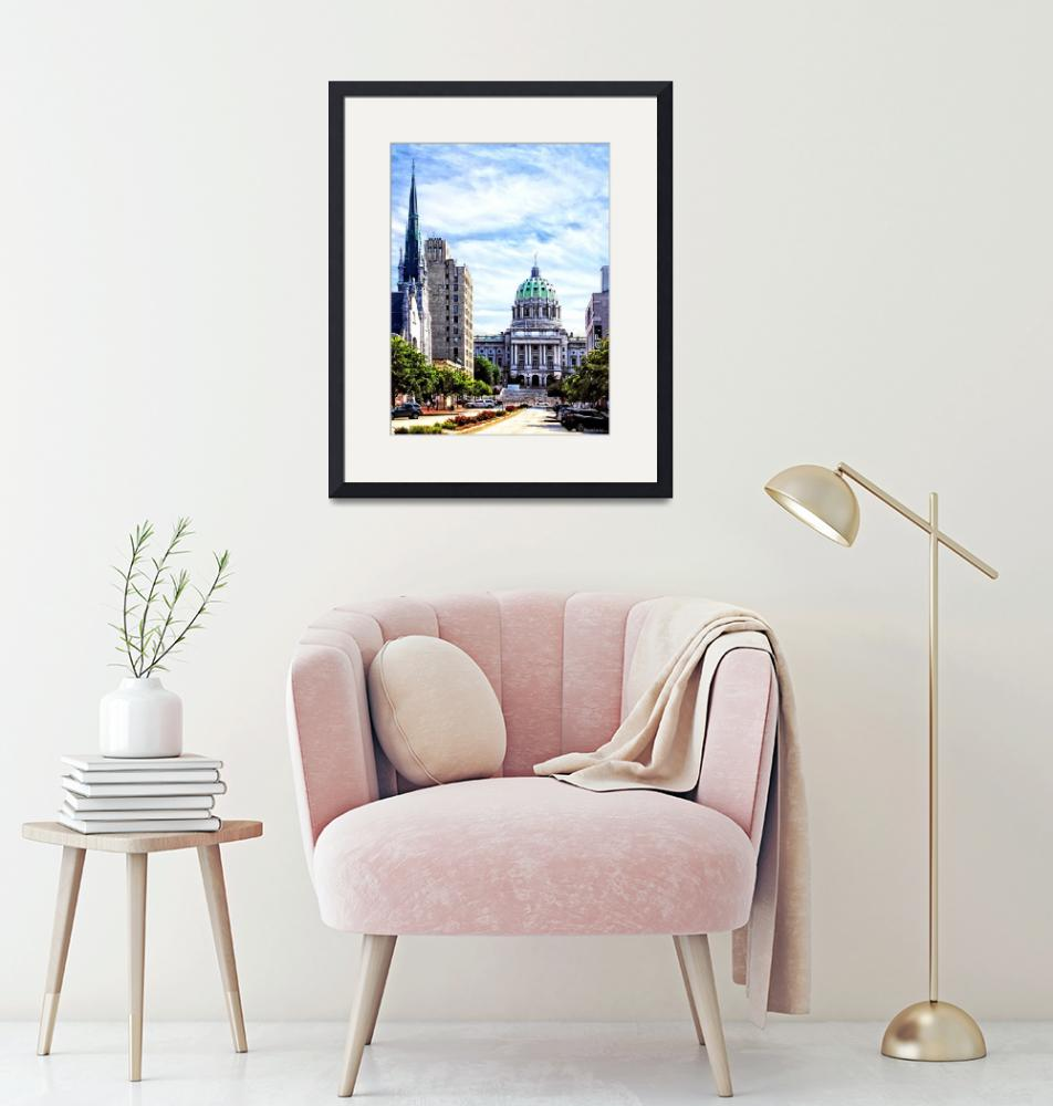 """""""Harrisburg PA - Capitol Building Seen from State S""""  by susansartgallery"""