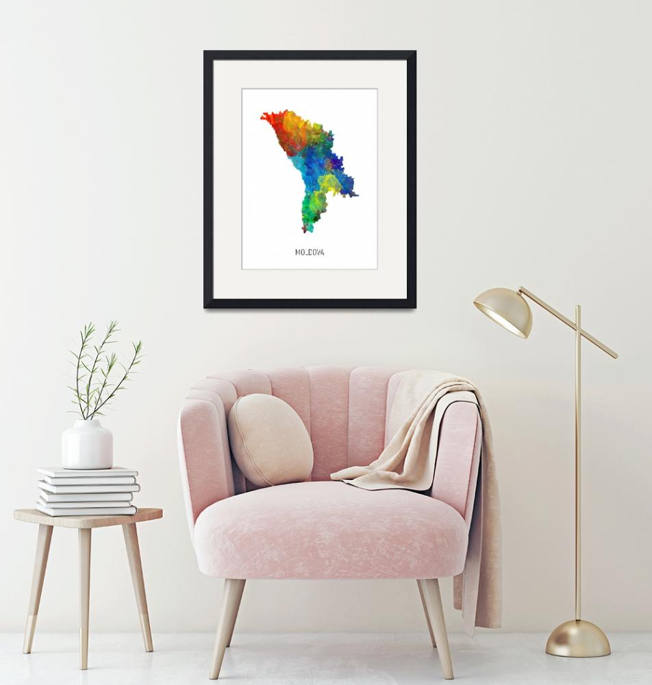 """Moldova Watercolor Map""  (2019) by ModernArtPrints"