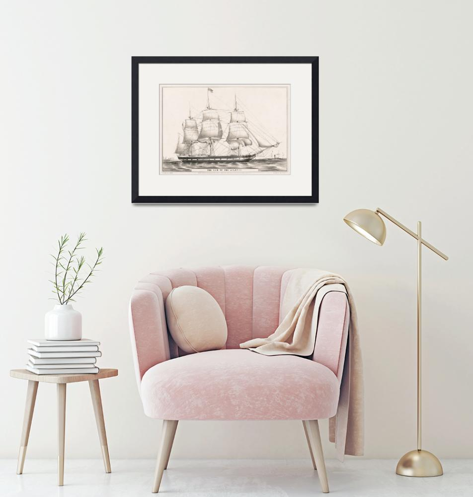 """""""Vintage Illustration of a Frigate Sailboat (1849)""""  by Alleycatshirts"""