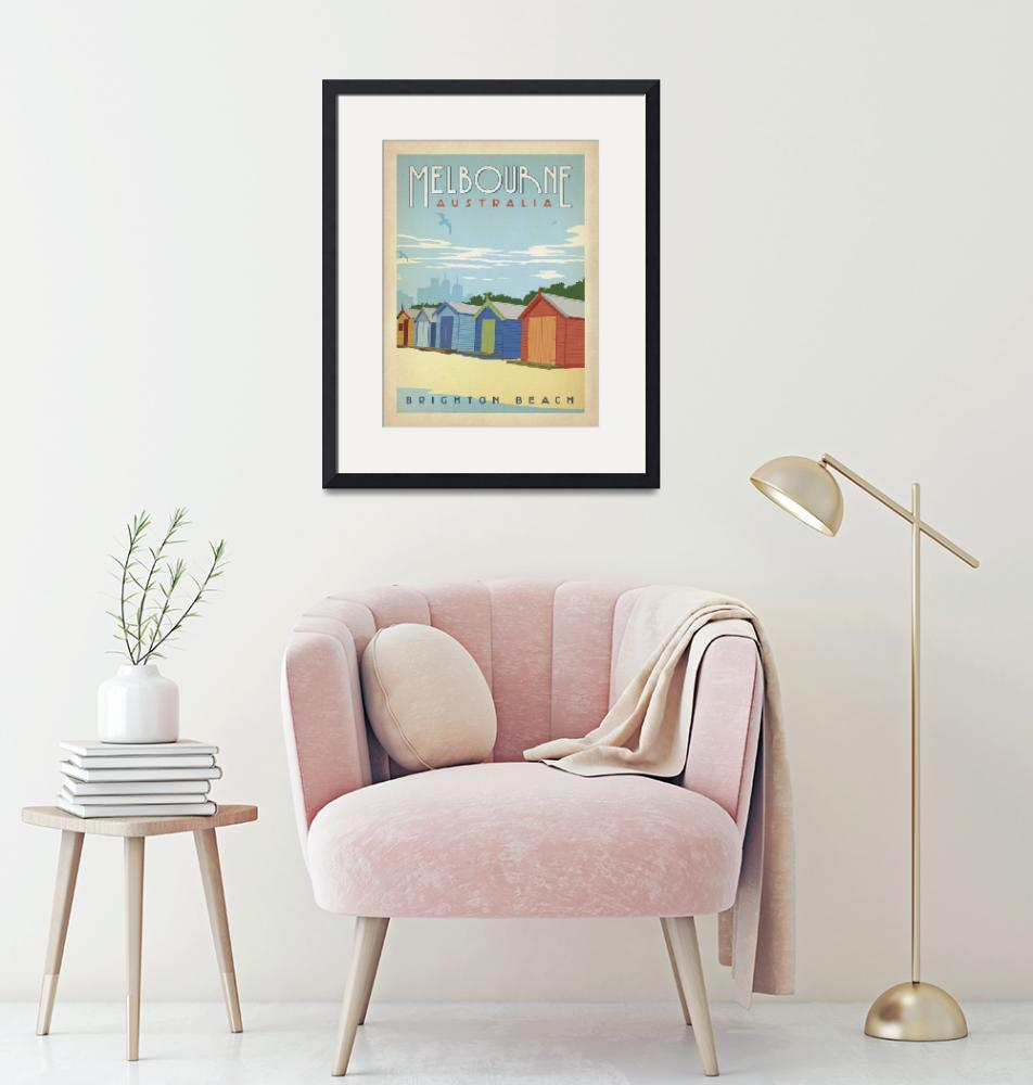 """Brighton Beach, Melbourne Retro Travel Poster""  by artlicensing"