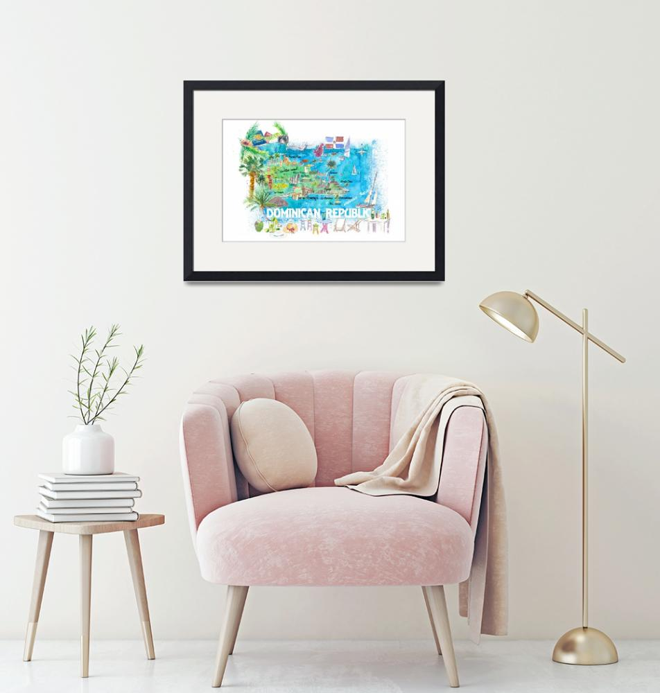 """""""Dominican Republic  Illustrated  Travel  Map  with""""  (2021) by arthop77"""