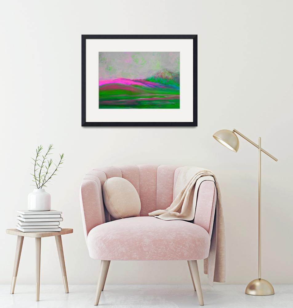 """Clouds Rolling In Abstract Landscape Pink""  by EloiseArt"