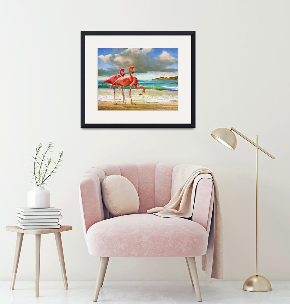 """""""flamingos on the beach""""  (2015) by rchristophervest"""