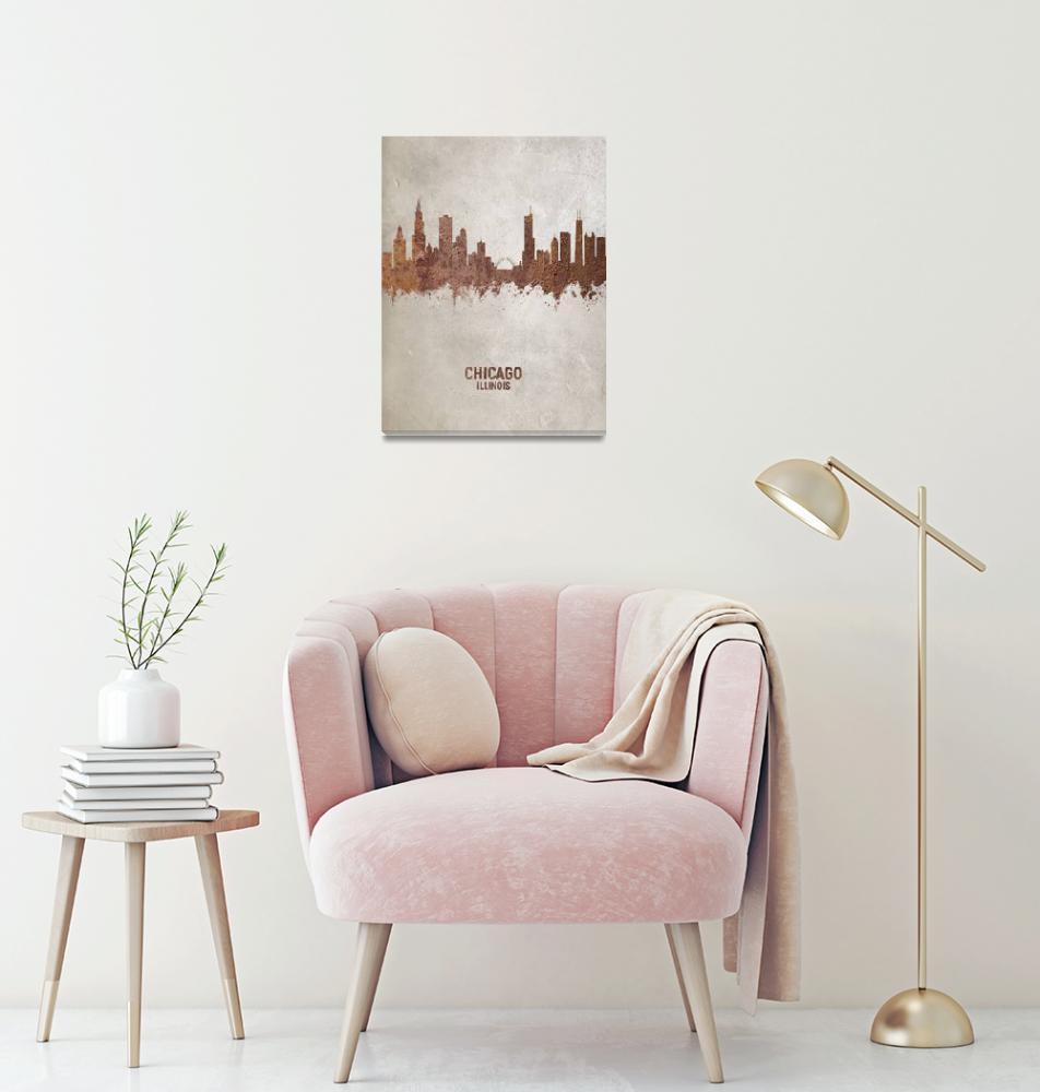 """Chicago Illinois Skyline""  (2019) by ModernArtPrints"