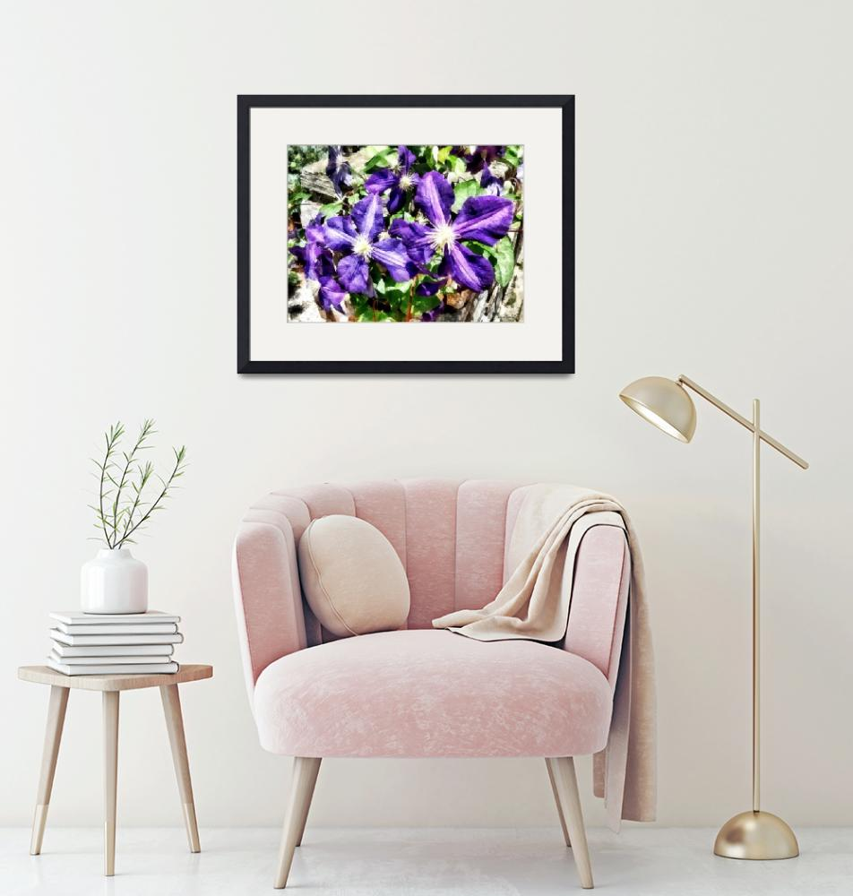 """""""Clematis on a Stone Wall""""  by susansartgallery"""
