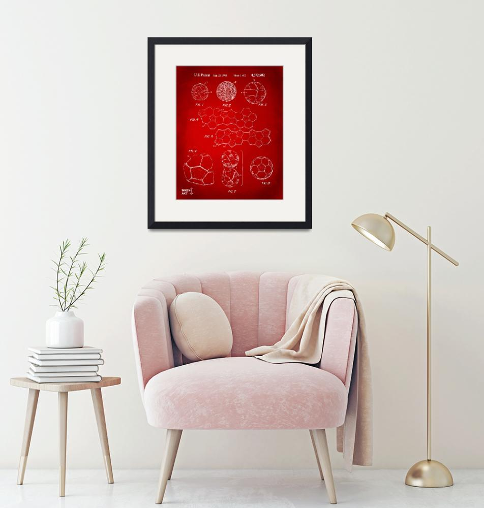 """""""Soccer Ball Construction Patent Artwork Red""""  (2014) by nikkismith"""