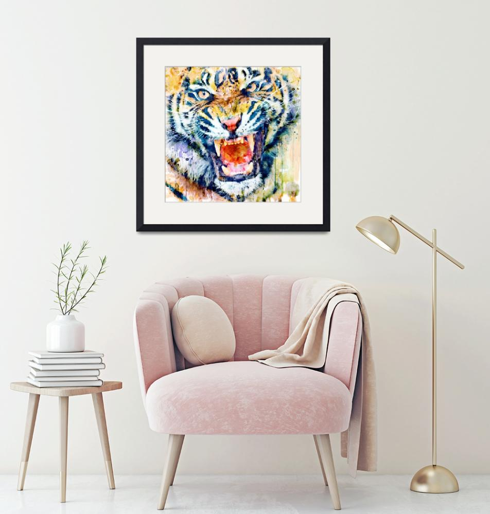"""""""Tiger Face Watercolor close-up""""  (2018) by MarianVoicu"""